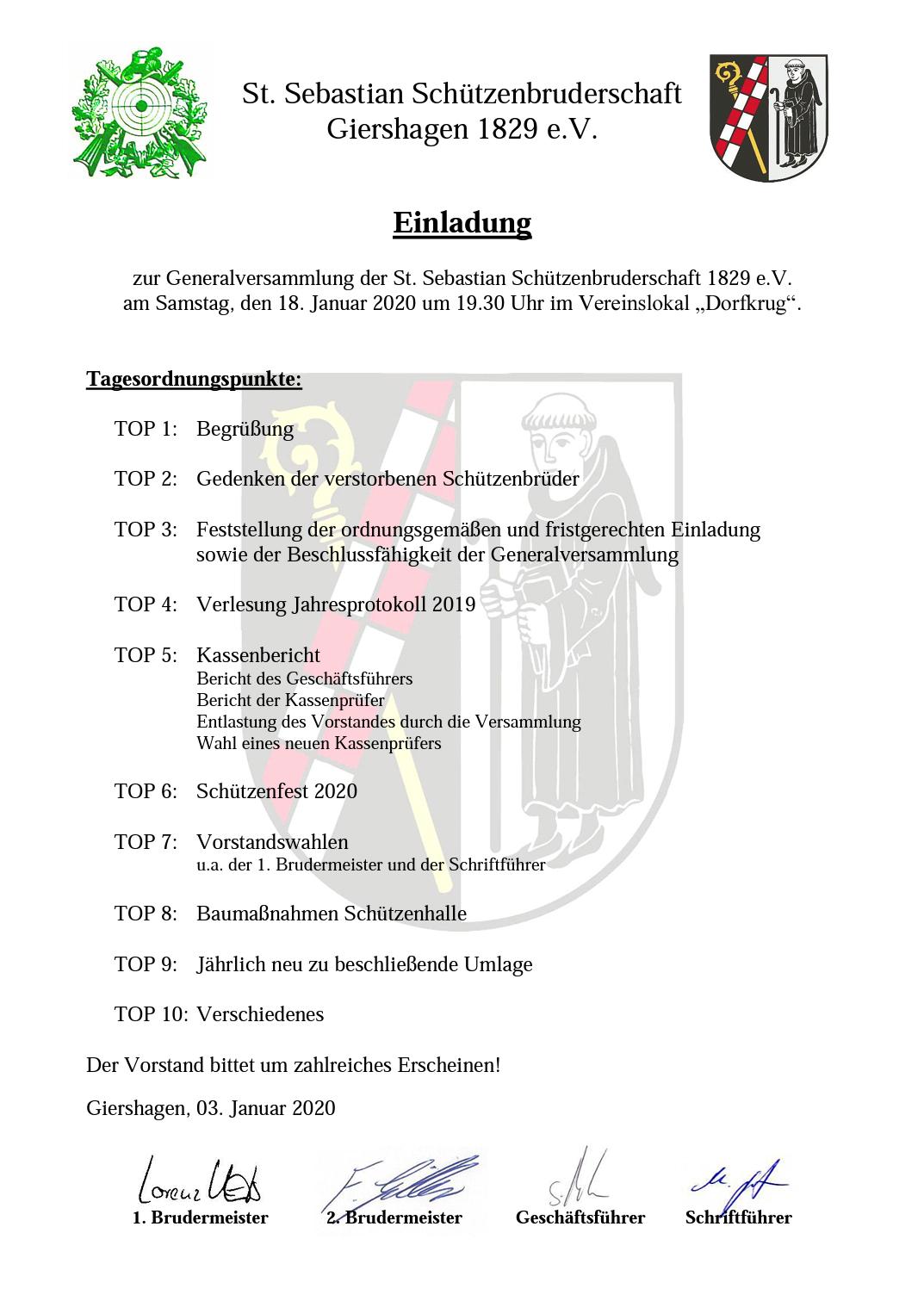 Einladung Generalversammlung 2020