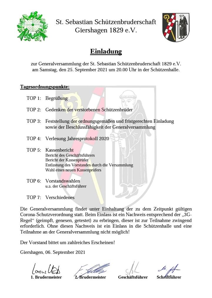 Einladung Generalversammlung 2021
